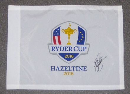 Rickie Fowler signed Ryder Cup 2016 Hazeltine pin flag.